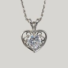 """Cubic Zirconia and Sterling Silver Filigree Heart Pendant with 18"""" Chain"""