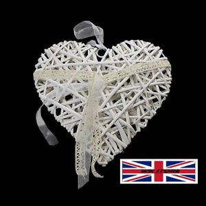 Heart Straw Wooden Hanging Garland Home Decor 15cm Ornament Ivory Decorations UK
