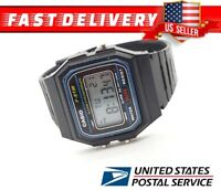 New CASIO F91W-1 Classic Black Resin Digital Chronograph Sport Unisex Watch