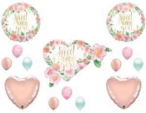 Sweet Baby Girl Floral Shower Balloons Boho Rose Gold Tribal Shabby Chic