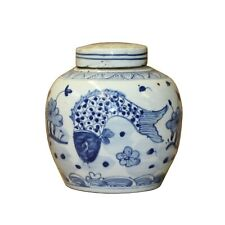 Chinese Blue White Porcelain Fishes Graphic Ginger Jar ws816