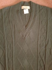 MENS MARKS & SPENCERS JUMPER TAG DK GREEN V NECK CABLE PATTERN LONG SLEEVES DAD