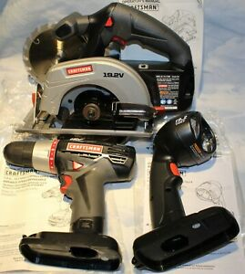 "Craftsman 1/2"" Drill + Work Light + 5 1/2"" Circular Saw Kit C3 19.2v Volt NEW"