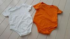 JOE FRESH LOT SET OF 2 BABY UNISEX BOY GIRL BODYSUIT WHITE & ORANGE 18-24 M