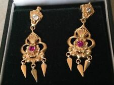 Yellow Gold Natural Sapphire Fine Earrings