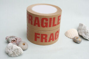 50mm Wide Eco Fragile Paper Tape Recyclable Kraft Parcel Tape Biodegradable