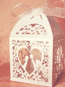 25 x delicately cut out 'kiss heart '  design wedding favour boxes with ribbon
