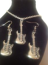 guitar necklace and matching hook earrings silver plated