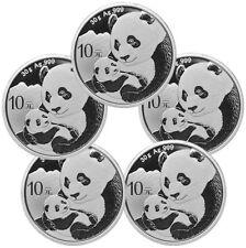 Daily Deal Lot of 5 2019 China 30 g Silver Panda 10Y Coins GEM BU SKU56942