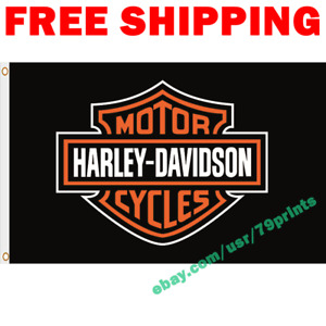 Harley Davidson Motorcycle Logo Flag Banner 3x5 ft Show Garage Wall Decor Sign