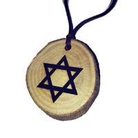 Star of David Magan Jewish Zionist Symbol Handmade Necklace Charm Wood Pendant