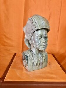 """Butter jade Man Shona stone Bust by Mangenda, """"The General"""" , SIGNED!"""