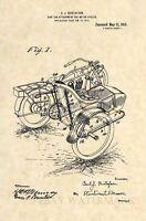 Official 1918 Harley Davidson Sidecar US Patent Art Print- Vintage Side Car 358
