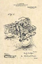 Official 1918 Harley Davidson Sidecar US Patent Art Print- Vintage Side Car 358