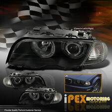 3-SERIES BMW 99 00 01 E46 4Dr Angel Eyes Halo Projector Black Head Light+Corner
