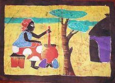 Batik Afrique de Cote d'Ivoire scene de vie femme au village