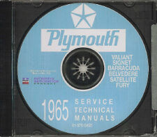 PLYMOUTH 1965 Barracuda, Valiant, Fury, Belvedere & Satellite Shop Manual CD
