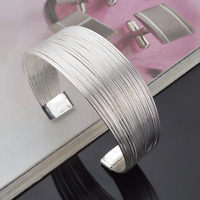 Fashion Women 925 Silver Plated Multilayer Cuff Wide Bangle Bracelet Jewelry New