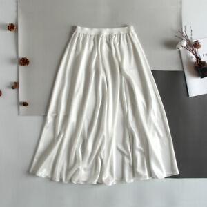 Women Satin Faux Silk Underskirt Petticoat Under Dress Half Slip Midi Skirt