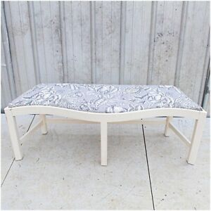 Entryway Bench End Padded Fabric Blue Floral Print Seat Footstool