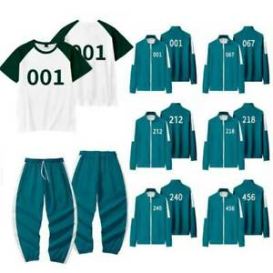 Squid Game Costume Adults Man Woman Tracksuit Green Red Cosplay Hoodies Sets AU
