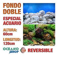 FONDO 120x60cm DOBLE CARA REVERSIBLE DECORATIVO ACUARIO ROCOSO Y PLANTAS D405