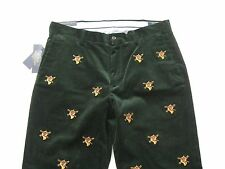 POLO RALPH LAUREN Men's Classic Fit Green Embroidered Corduroy Pant 33x32
