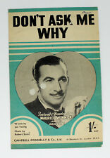 SHEET MUSIC, DON'T ASK ME WHY, WORDS/MUSIC, YOUNG/STOLZ, MAURICE WINNICK & ORCH