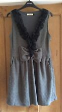 M Butterfly Grey Dress With Black Lace And Bow Detail, Size L