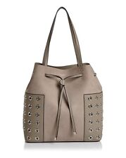 Tory Burch Block-T Grommet Bucket Tote Bag FRENCH GRAY Retail $525