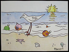 Robert SARGENT, Orig Ink & Colored Pencil Drawing, Sunshine & Seashore, Signed