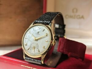Gents Vintage Omega 9ct Gold Sub Champagne Dial 265 Luxury Boxed Watch - Working