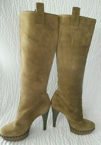 Yves Saint Laurent Green Suede Knee High Stiletto Boots Size 38