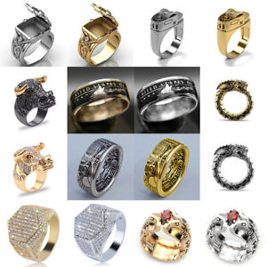 Fashion Silver Gold Filled Punk Ring Gothic Hip Hop Ring Men Cool Party Jewelry