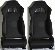 NEW 2 Black Cloth Racing Seat RECLINABLE w/ Slider 1964-2012 Ford Mustang