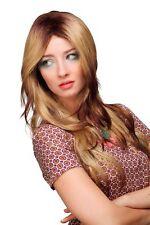 Perruque séduisant blond brun foncé raie au milieu Long Extravagant wl-2330