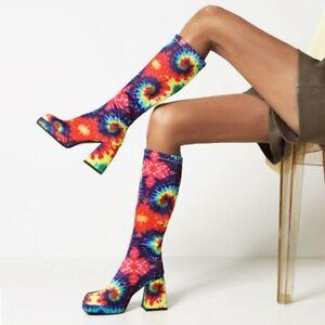 Women Snakeskin Print Square Toe Chunky Heel Biker Mid Calf knee Riding Knight