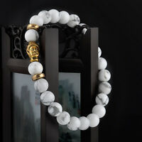 Hot Men's Bracelet Gold Buddha Elastic Beaded Bracelet Tibet Charm Luck 8mm bead