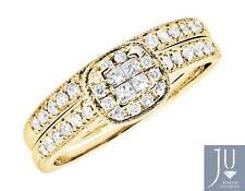 14k Yellow Gold Double Halo Princess Center Diamond Engagement Ring Set .50Ct