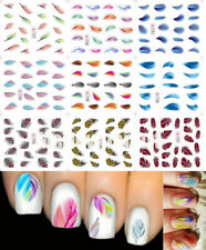 5Pcs Nail Art Stickers Decals Water Transfer Rainbow Feather Foil Decal Set