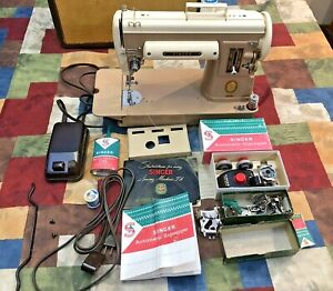 Vintage Singer Sewing Machine 301A w/ Case & Manuals,Zig zag & Extras Excellent