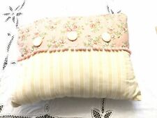 Floral Stripped Floral Button Pillow Pink Roses Floral Small Pom Pom