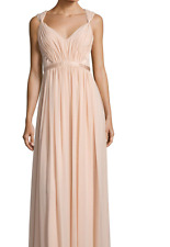 VERA WANG Blush Pink V Neck Back Pleated Gown 1F01W12 Bloom Dress SZ 12 NEW