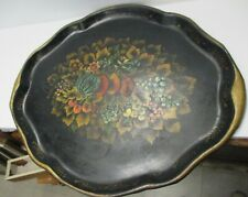 Antique Oval TOLEWARE Black PAINTED TRAY with FRUITS Leaves country primitive
