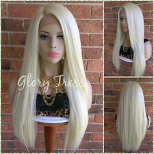 Long & Straight Lace Front Wig, 100% Human Blend Wig, 613 Platinum Blonde Wig