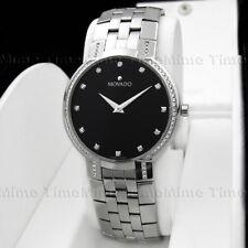 Men's Movado FACETO Diamond 35mm Black Dial Stainless Swiss Quartz Watch 0605585