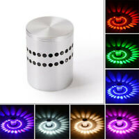 3W RGB Spiral LED Wall Sconce Ceiling Light KTV Hotel Walkway Porch Lamp 85-265V