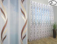 Moderne Gardine*Store*Voile*Geschwungene Design*Braun-beige*Bleiband*NACH MAß