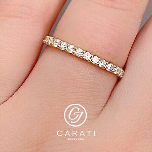 14K Solid Yellow Gold 0.3 Ct Diamond Modern Thin Wedding Ring Stacking Band