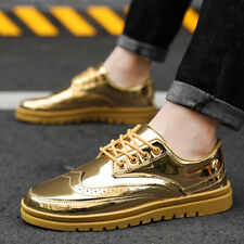 Men's New Fashion Patent Leather Lace Hip Hop Shoes Punk Shiny Low-top Sneakers